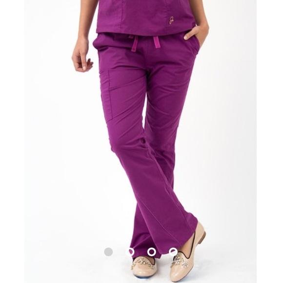 4d707e64bf4 Jaanuu Pants - Jaanuu Antimicrobial Plum Flare Leg Scrub Pants